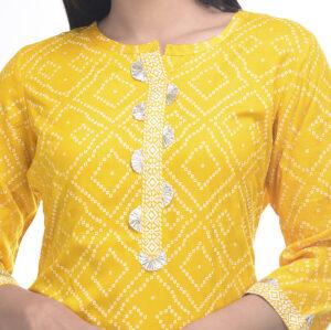 Rayon Jaipuri Bandhej Print Kurta with Gotta Patti Work Manufacturer Wholesale in Jaipur